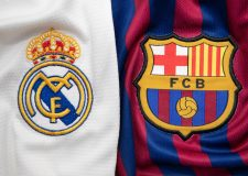 BANGKOK, THAILAND -JULY 19:  The Logo of Real Madrid against Barcelona on Football Jerseys on July 19,2018.