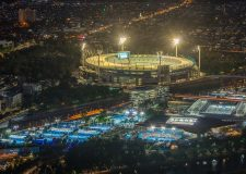 Aerial view of Yarra Park, illuminated for the Australian Open and the MCG for a one day cricket international.